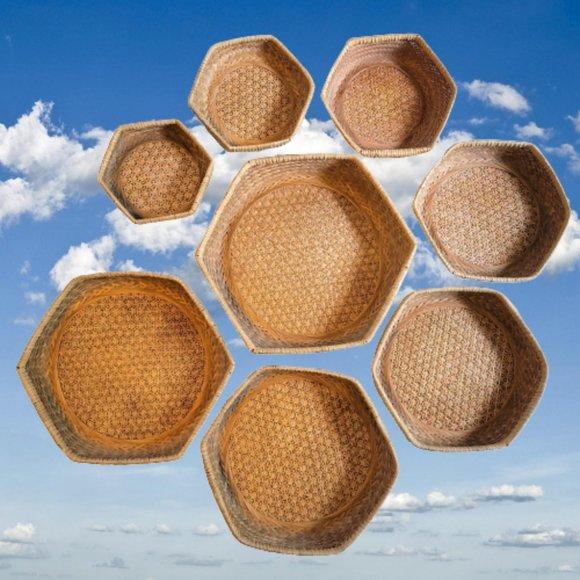 Vintage 8pc Hexagonal Nesting Baskets Wall Decor Boho Cane Bamboo